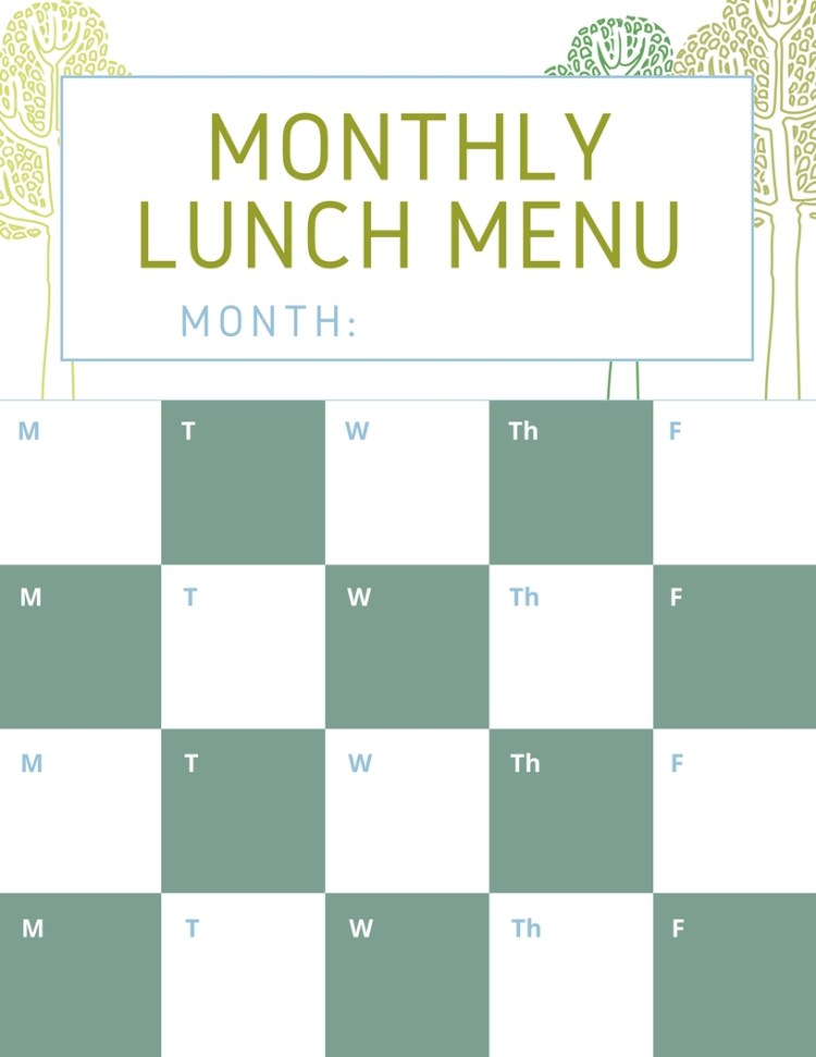free printable monthly lunch planner