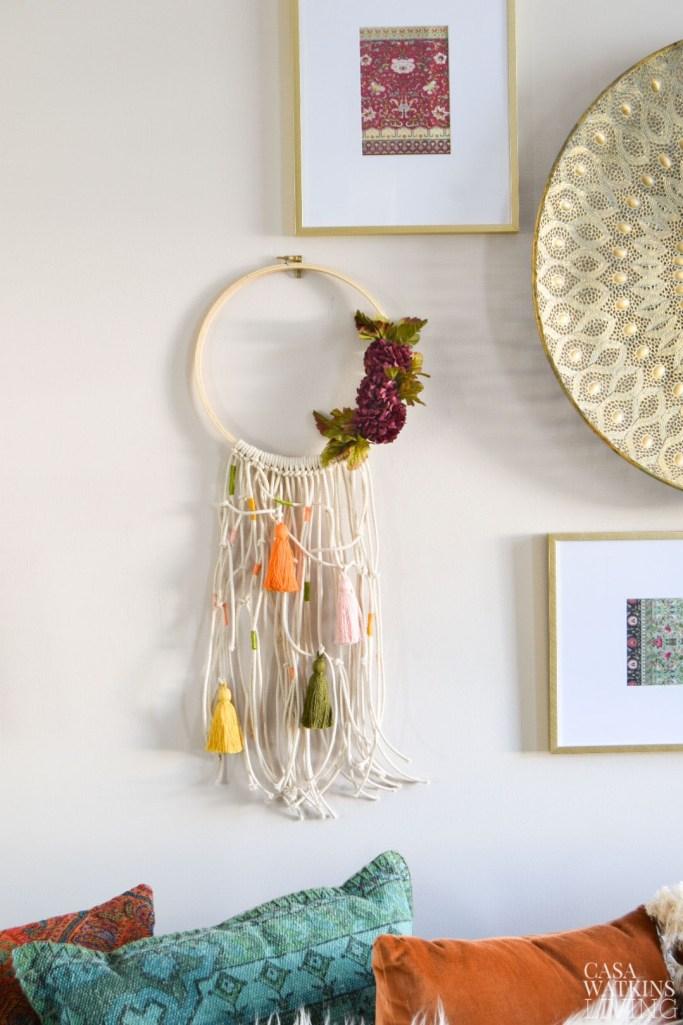 diy boho macrame fall wreath with tassels