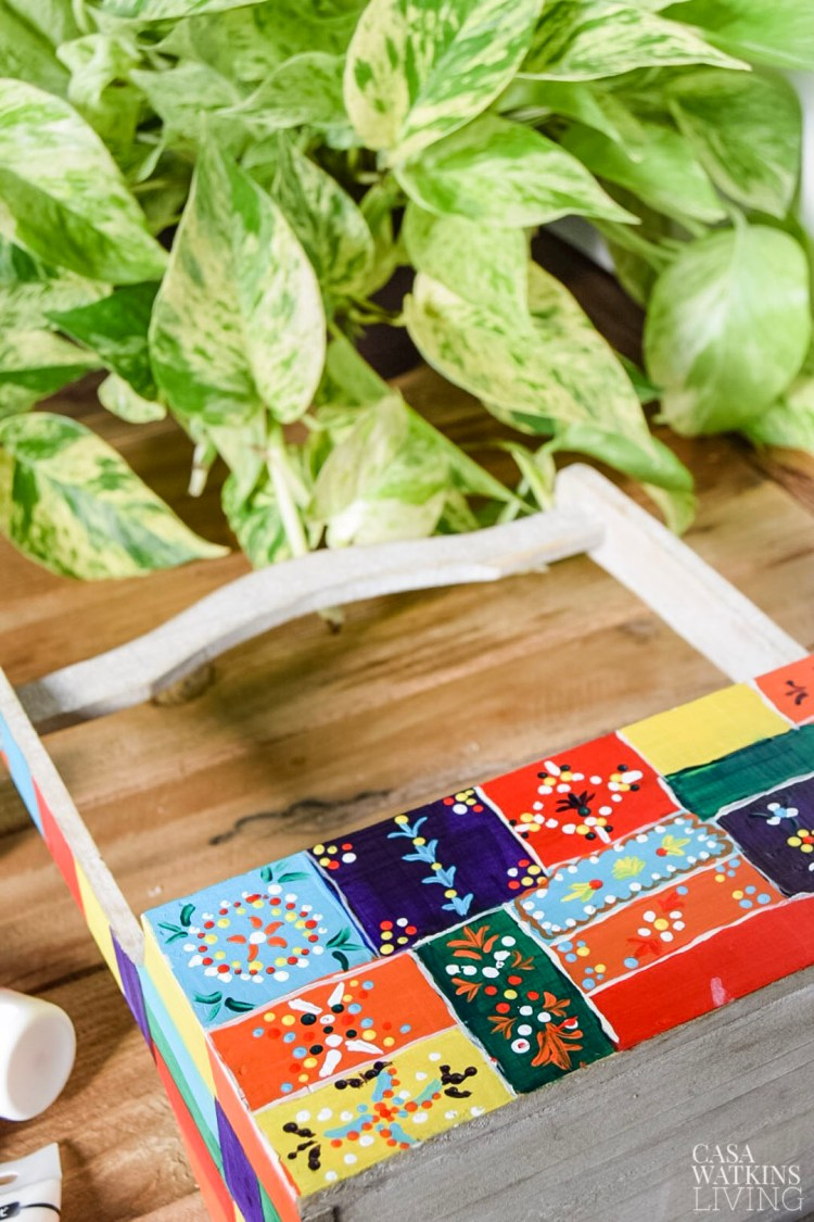 how to make diy painted caddy inspired by Indian hand painted decor
