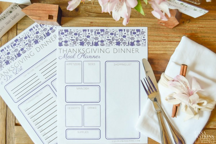 printable Otomi Thanksgiving menu planner and to do list