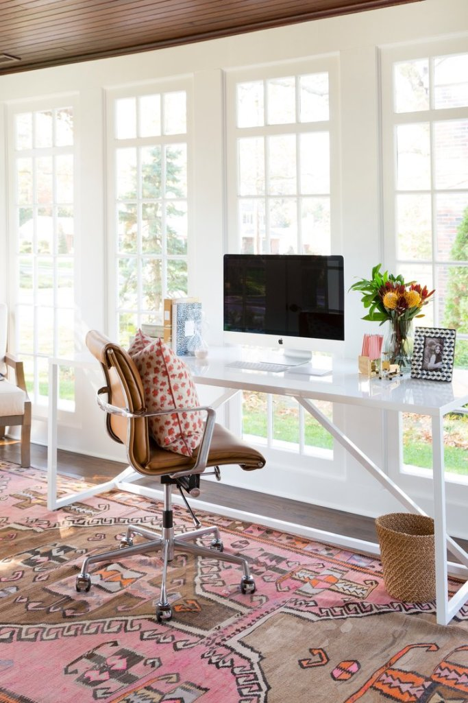 Boho Chic office in sunroom