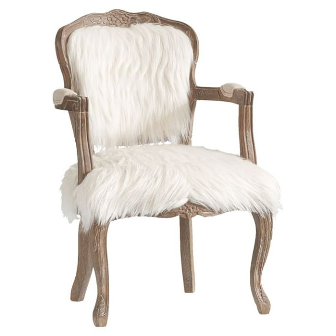 pottery barn faux fur chair