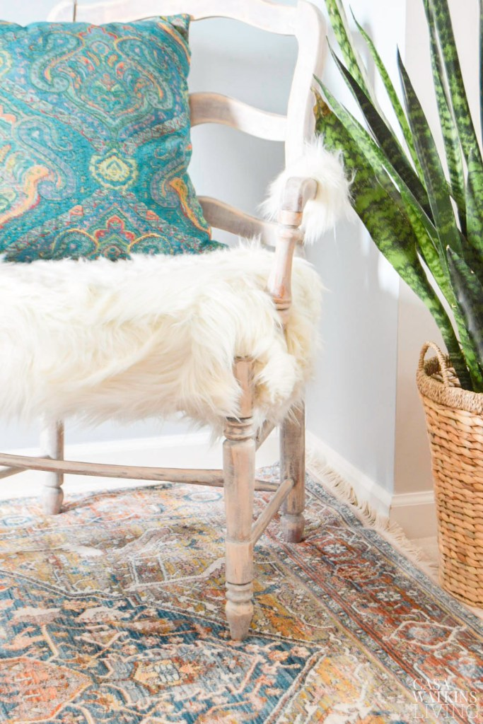 diy faux fur weathered chair makeover