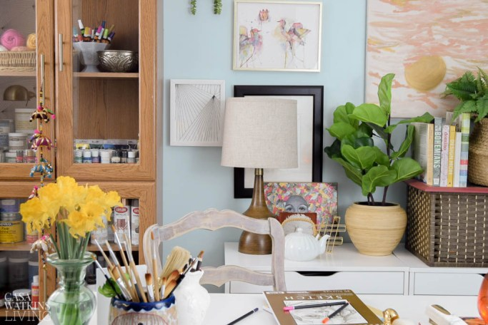 Basement boho chic craft room office reveal