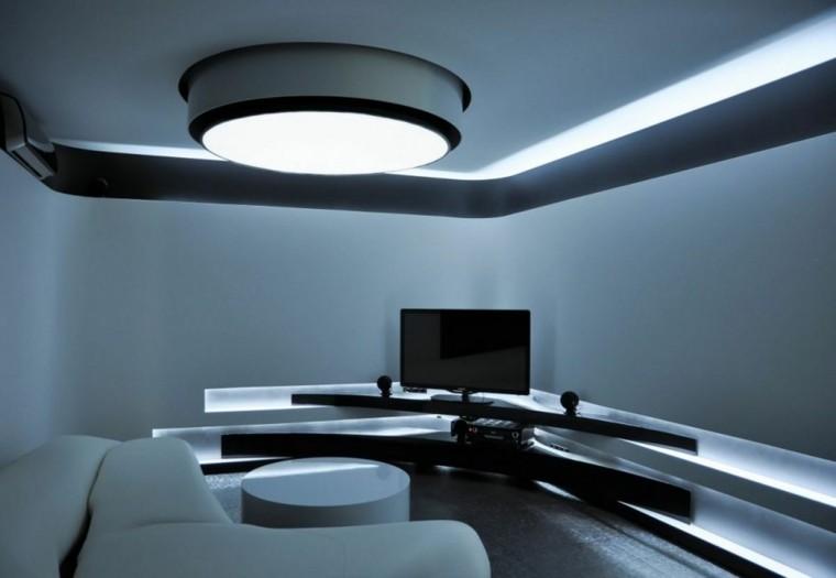 iluminación led techo mueble blanco moderno