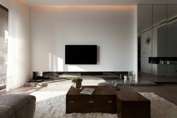 Decoracion de living comedor minimalista. de cortina destaca la ...