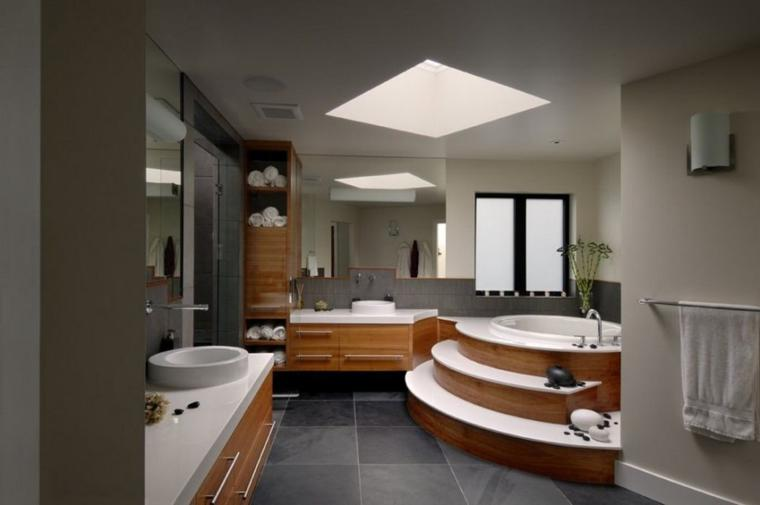 bañera redonda escaleras madera