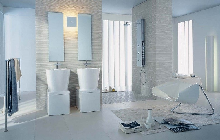 diseño de baños blancos modernos