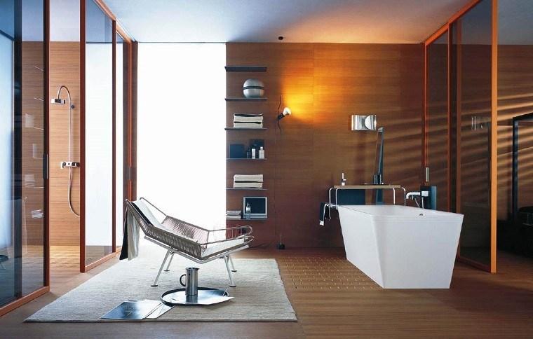 baño moderno revestimiento laminado madera