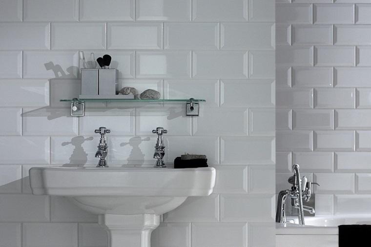 ladrillos azulejo blanco ceramica baño
