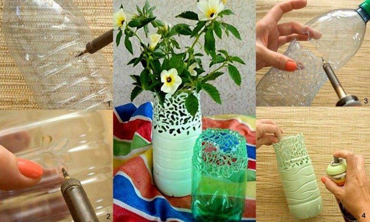 botellas plastico hechas jarrones flores