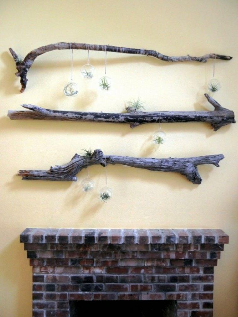 decoración pared troncos madera