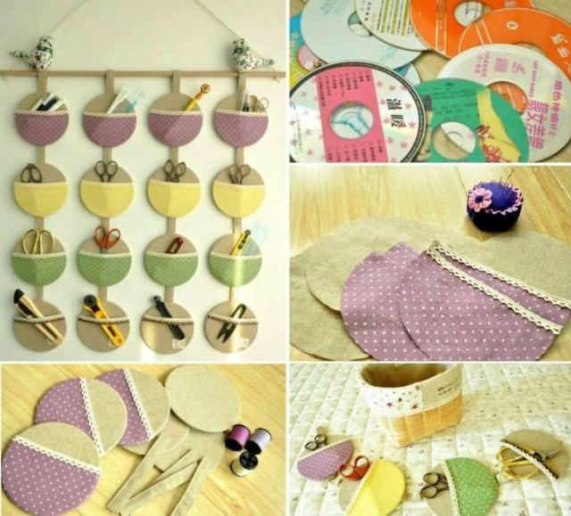 manualidades faciles de hacer estante discos carton tela colores