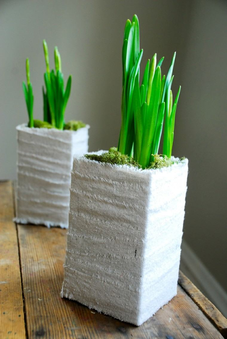 macetas musgo tela blanca hierba
