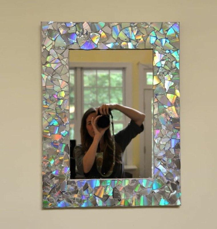 marco espejo decorado trozos discos