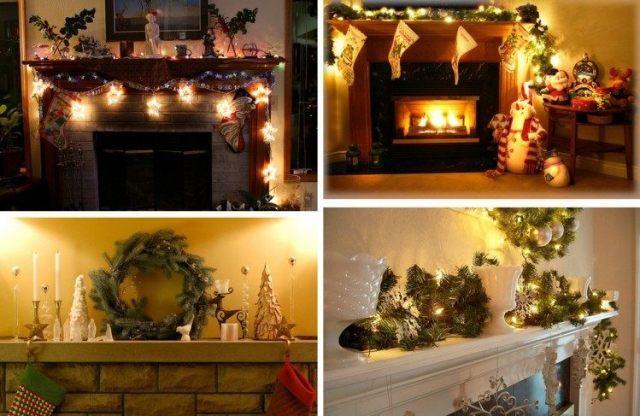 collage adornos navidad chimenea luces