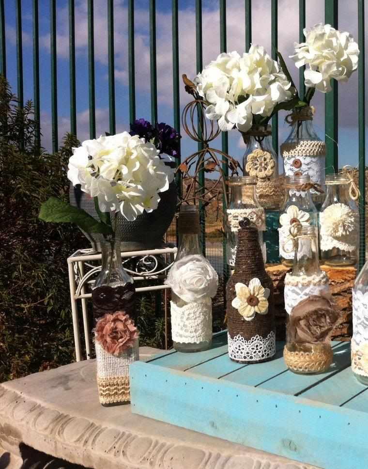 decoración casera botellas cuerdas
