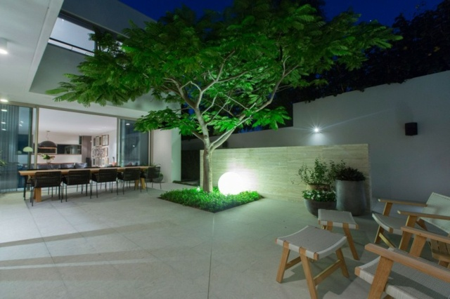 arbol jardin lampara forma bola ideas