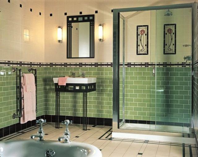 bano-diseno moderno iluminacion original losas verdes destacan ideas