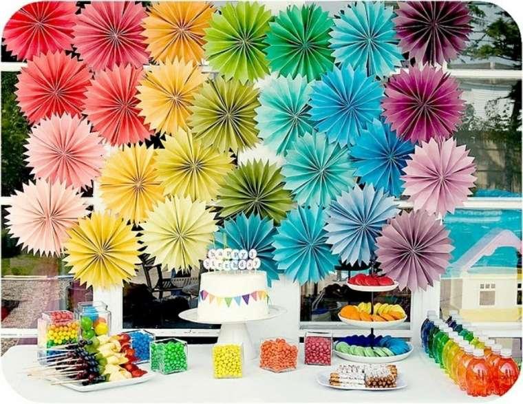 adornos flores papel colores