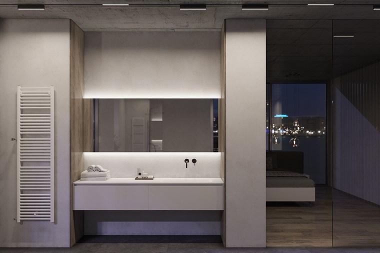 reformar bano iluminacion espejo lavabo blanco ideas