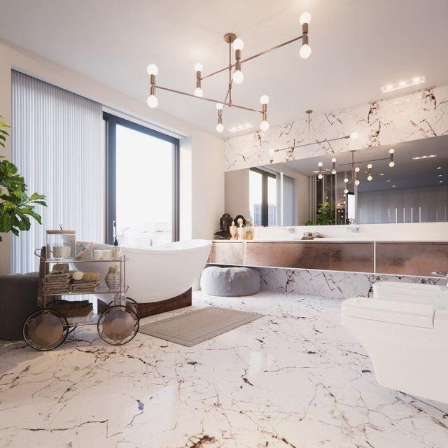 reformar bano iluminacion lampara lujo marmol ideas