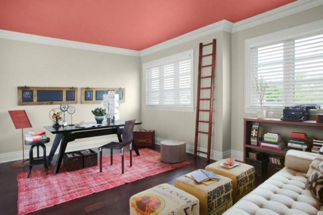 tavan dekorasyon fikirleri modern pembe renkli tasarım