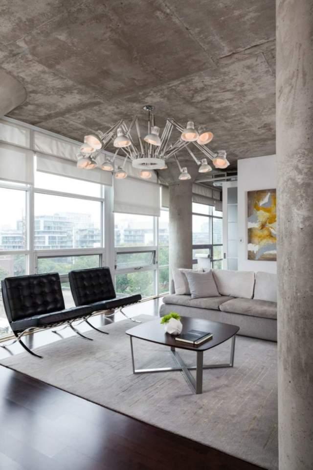 tavan tasarımı açık beton dekorasyon fikirleri