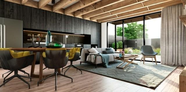 tavan tasarımı oturma odası modern ahşap dekorasyon fikirleri
