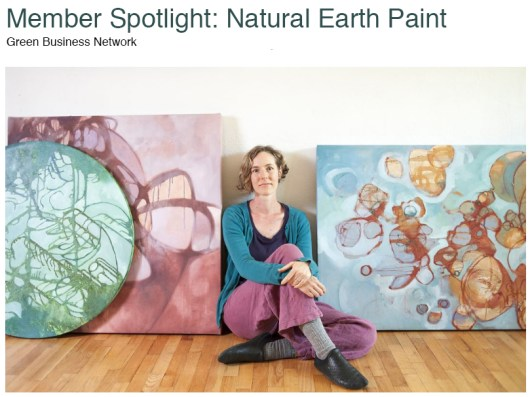 Happy New Year from Natural Earth Paint - picture of Natural Earth Paint owner Leah Fanning Mebane and three of her paintings
