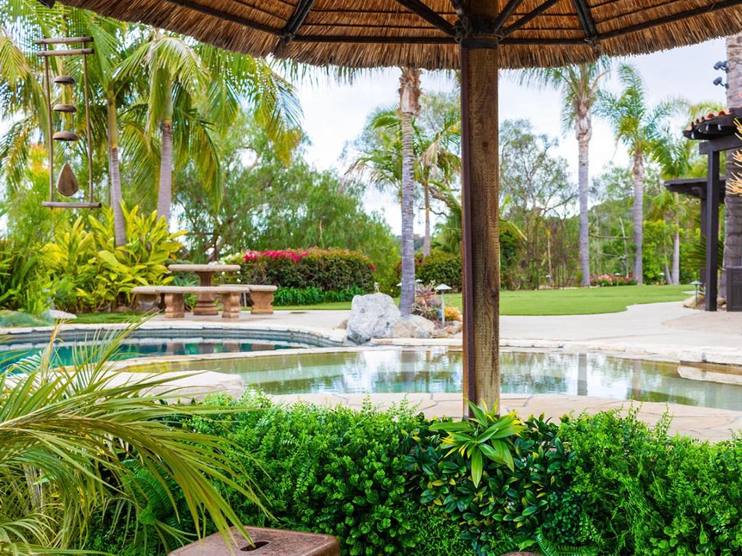 Cascade Greenery Paradise Installation Next to Pool