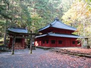 The sacred hall of Kaizan-do was our first stop on the Takino'o Path. The hall was built to cremate Priest Shodo, the founder of Futarasan. His remains are housed in a tomb behind the hall.