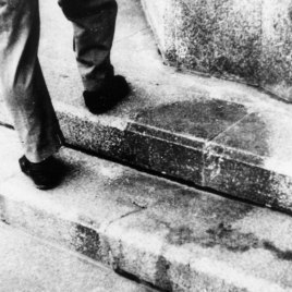 The shadow on the steps of the Sumimoto Bank as it appeared in the days after the bombing.