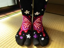 Two-toed socks (tabi) make a butterfly when put together