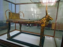 The first funerary bed of Tutankhamun has a pair of cows.