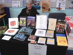 Marilyn Stablein at her Small Press Fair booth for Book Art Editions at the festival in Nanaimo, British Columbia. May 2015