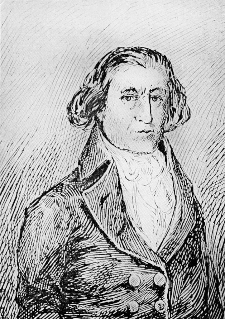 An etched image of Captain Robert Gray posed erect with a austere look wearing Georgian style clothing of the period. Circa 1790.