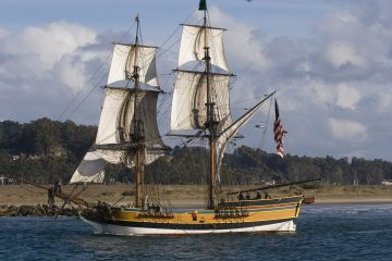 A replica of Captain Grays's ship the Lady Washington sails into the mouth of the Coumbia River in 2007