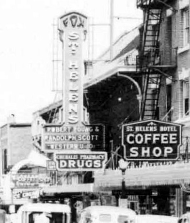 Fox's St. Helen's Theater picutred as the center of a crowded main street in Chehalis Washingotn during the 1940s