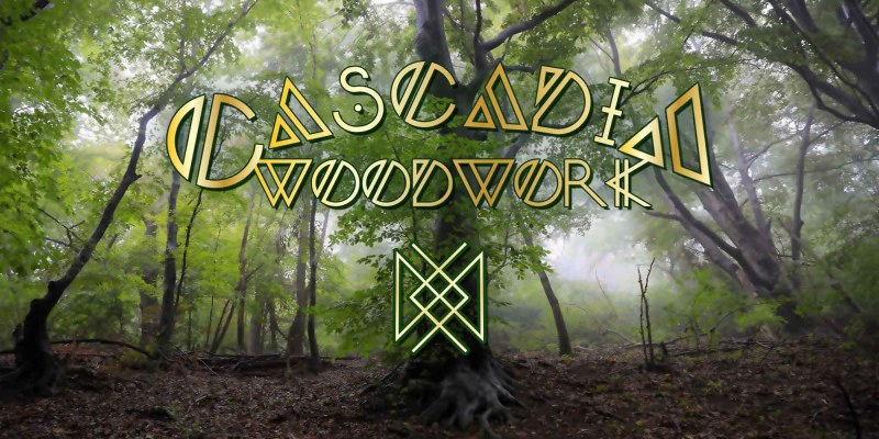 Promotion image of trees and the Cascadia Woodwork logo