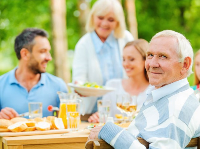 Man having lunch with family