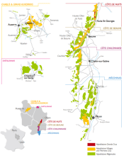 Map of Burgundy wines regions