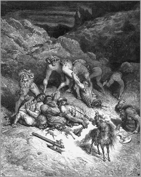 Don Quixote destroys Five Giants, Gustav Doré