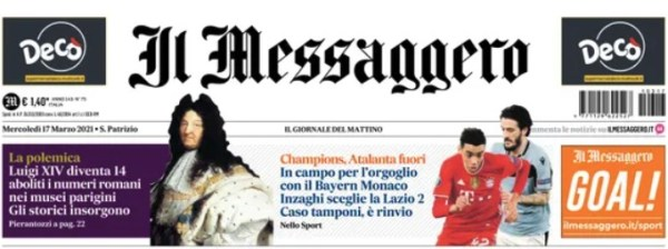 Front page news in Italy