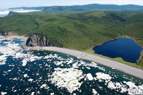 Ice flows off the coast