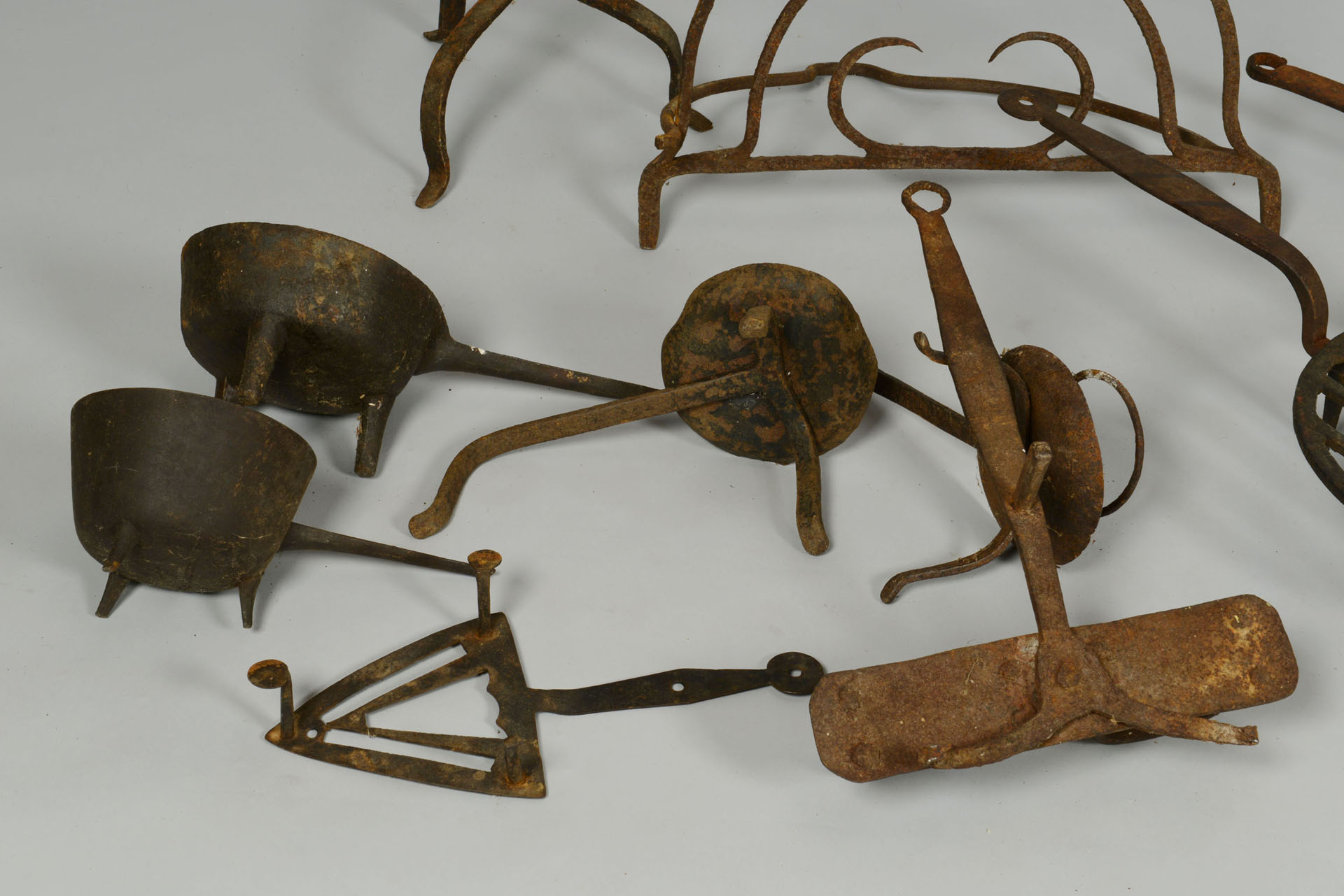 Lot 540 Grouping Of Early Wrought Iron Hearth Items 10