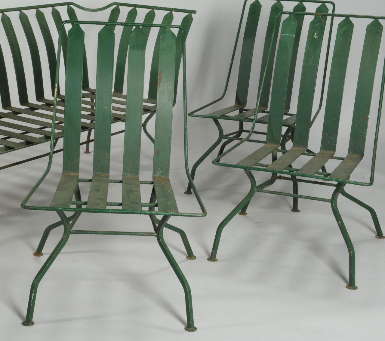 lot 589 french art deco patio furniture settee 3 chairs case antiques