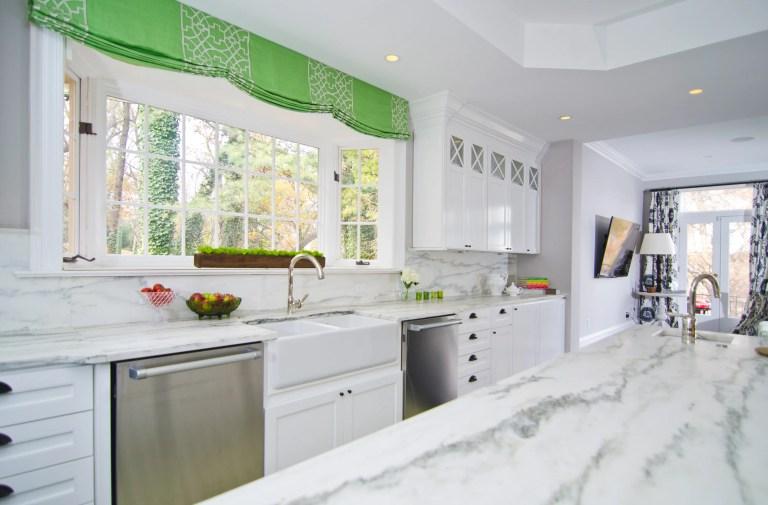 bright open kitchen window farm sink stainless steel