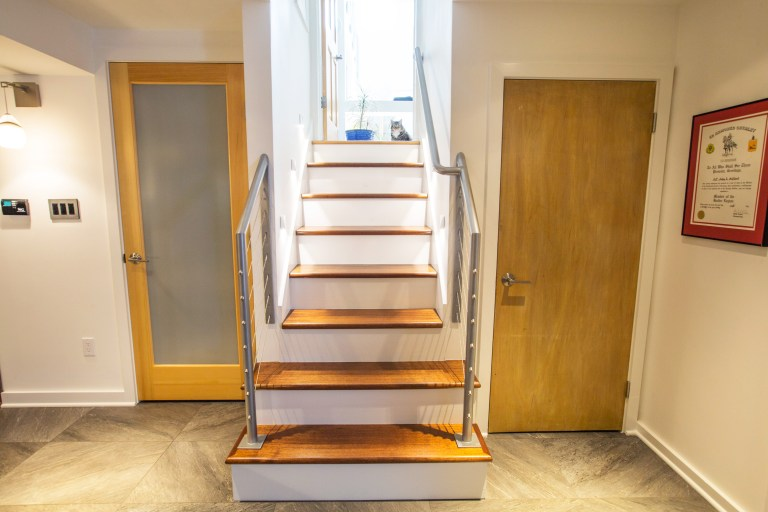 stairs down to renovated basement