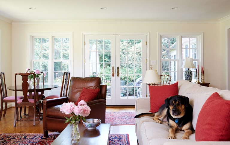 french doors in bright living area leading out to backyard